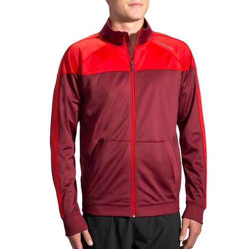 Mens Brooks Rally Running Jackets - Root/Lava XL