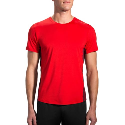 Mens Brooks Steady Short Sleeve Technical Tops - Lava/Root M