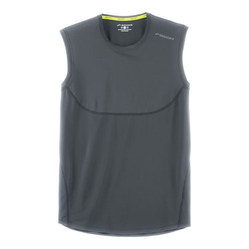 Mens Brooks Steady Sleeveless & Tank Technical Tops - Asphalt XL