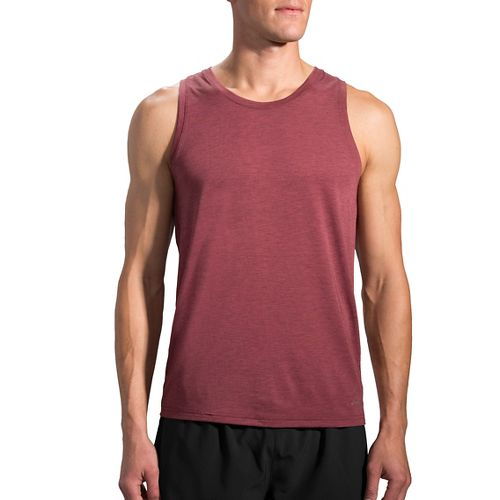 Mens Brooks Distance Sleeveless & Tank Technical Tops - Heather Root XL