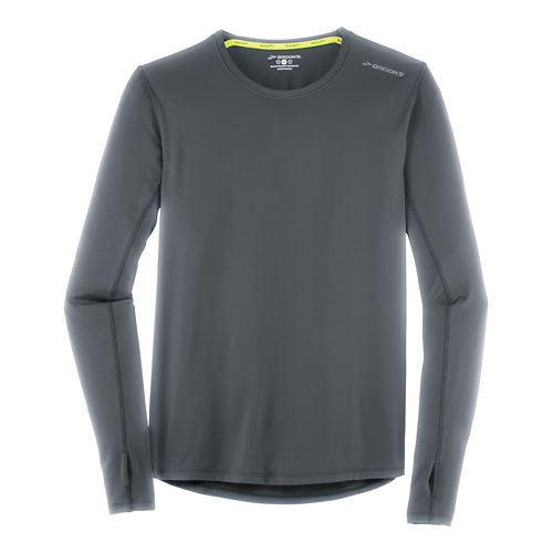 Mens Brooks Steady Long Sleeve Technical Tops - Asphalt XXL