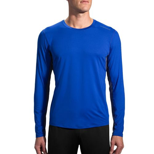 Mens Brooks Steady Long Sleeve Technical Tops - Basin/Coast L