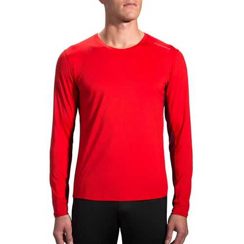 Mens Brooks Steady Long Sleeve Technical Tops - Lava/Root S
