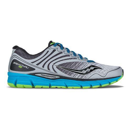 Mens Saucony Breakthru 2 Running Shoe - Grey/Black/Blue 10.5