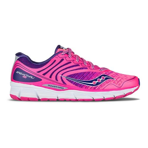 Womens Saucony Breakthru 2 Running Shoe - Pink/Navy 11.5