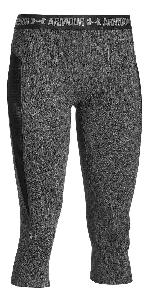 Womens Under Armour HeatGear Coolswitch Capris Pants - Carbon Heather/Black S