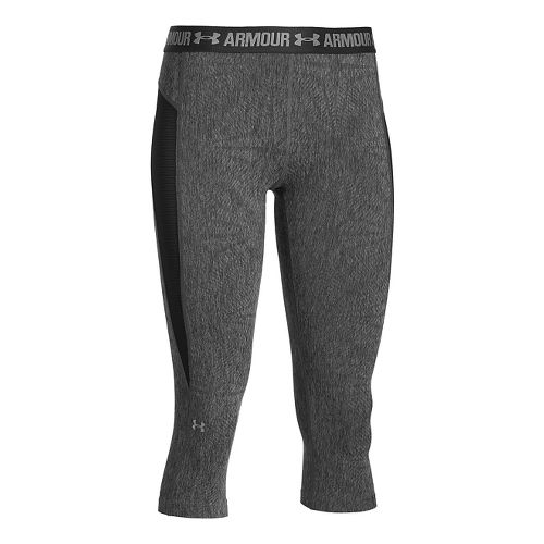 Womens Under Armour HeatGear Coolswitch Capris Pants - Carbon Heather/Black L