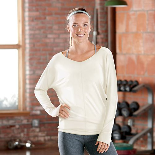 Womens R-Gear All Worked Up Long Sleeve Technical Tops - Heather White L