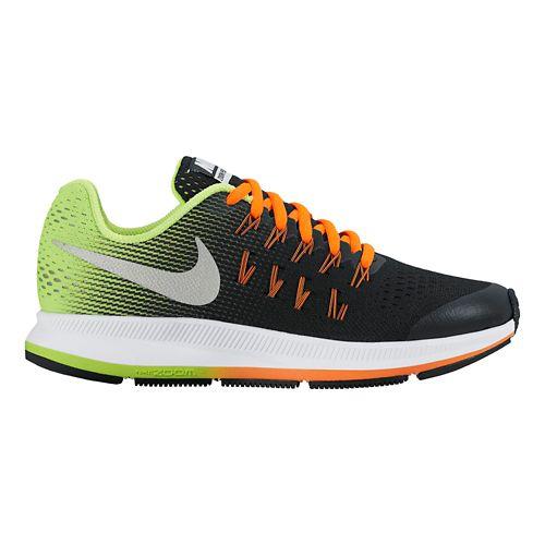 Kids Nike Air Zoom Pegasus 33 Running Shoe - Black/Volt 1Y