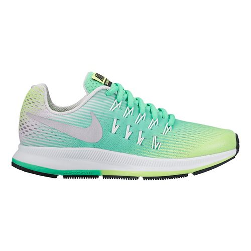 Kids Nike Air Zoom Pegasus 33 Running Shoe - Green/Silver 4.5Y