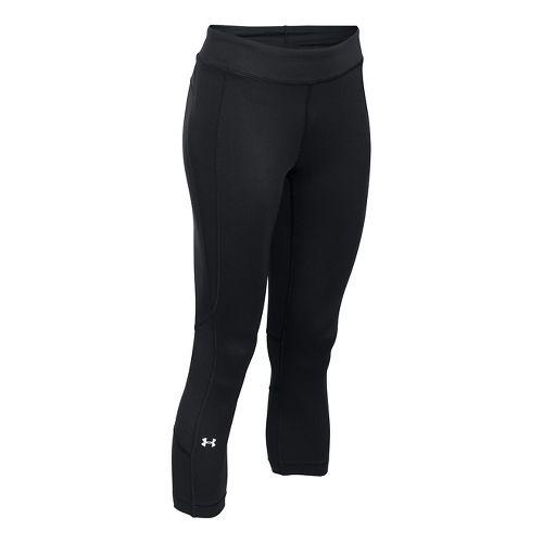 Womens Under Armour HeatGear Crop Capris Pants - Black XS