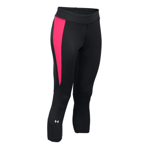 Womens Under Armour HeatGear Crop Capris Pants - Black/Red XS