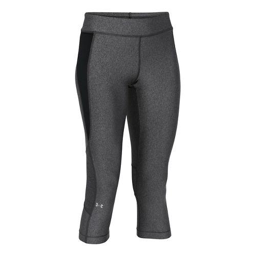 Womens Under Armour HeatGear Crop Capris Pants - Carbon/Black S