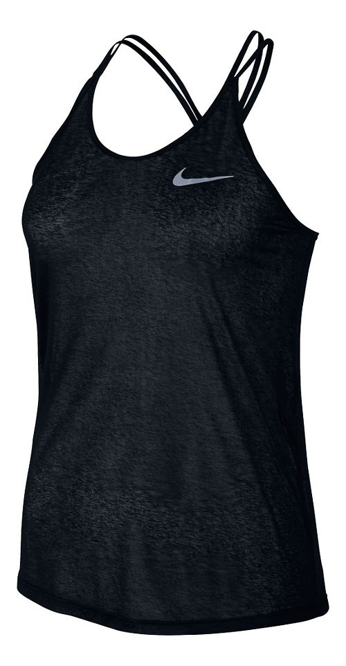 Womens Nike Dri-FIT Cool Breeze Strappy Tank Sleeveless & Tank Technical Tops - Black L