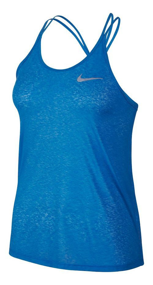 Womens Nike Dri-FIT Cool Breeze Strappy Tank Sleeveless & Tank Technical Tops - Light Photo Blue L