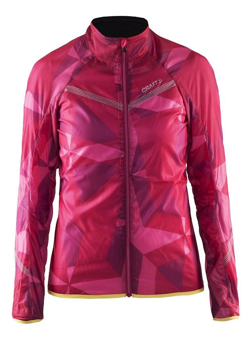 Womens Craft Featherlight Running Jackets - Geo Pop/Shine L