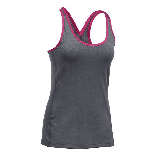 Womens Under Armour HeatGear Racer Sleeveless & Tank Tops Technical Tops - Heather/Pink S