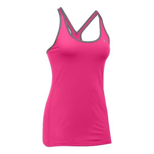 Womens Under Armour HeatGear Racer Sleeveless & Tank Tops Technical Tops - Pink/Heather L