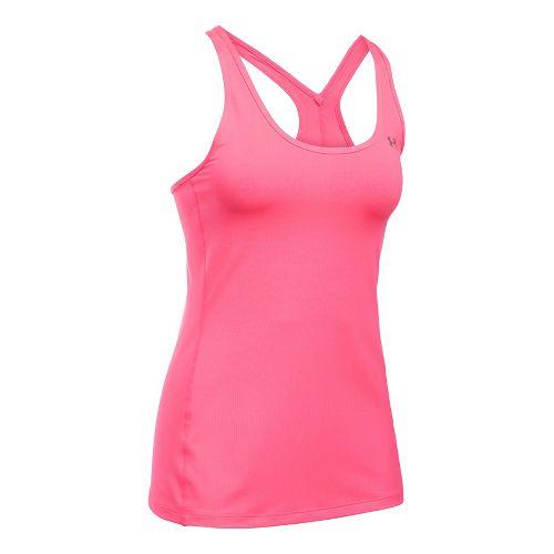 Womens Under Armour HeatGear Racer Sleeveless & Tank Tops Technical Tops - Pink Shock S ...