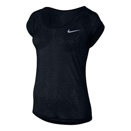 Womens Nike Dri-Fit Cool Breeze Short Sleeve Technical Tops - Black XL