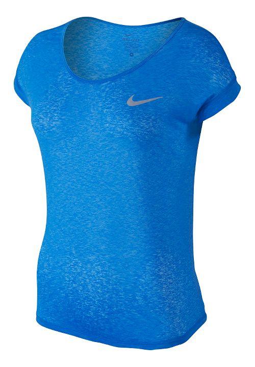 Womens Nike Dri-Fit Cool Breeze Short Sleeve Technical Tops - Light Photo Blue M