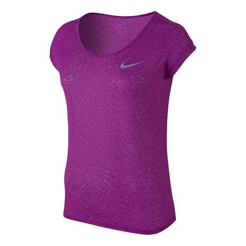 Womens Nike Dri-Fit Cool Breeze Short Sleeve Technical Tops - Cosmic Purple XS