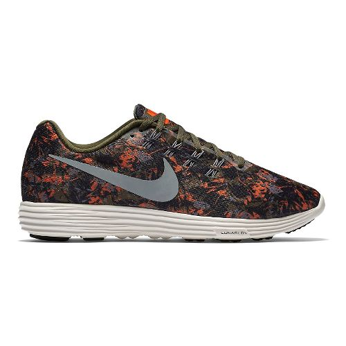 Mens Nike LunarTempo 2 Print Running Shoe - Cargo Khaki/Orange 13