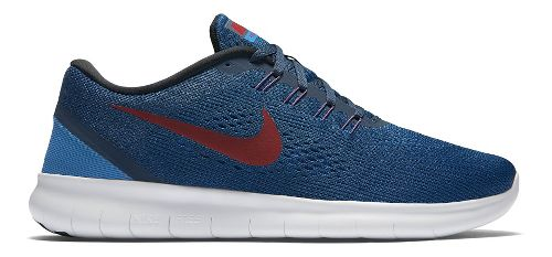 Mens Nike Free RN Running Shoe - Navy/Red 11.5