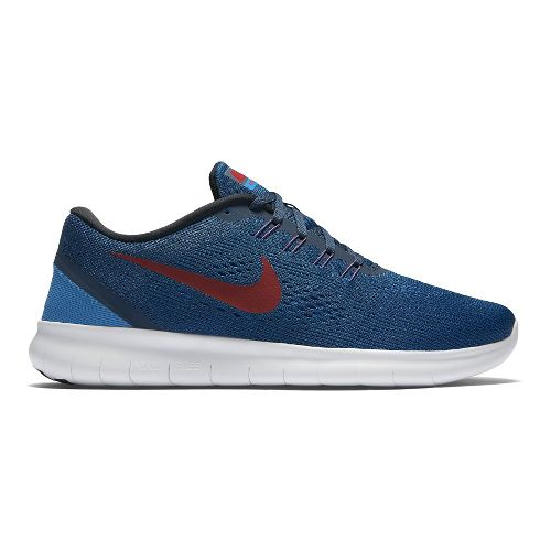 Mens Nike Free RN Running Shoe - Navy/Red 9.5