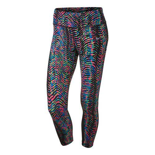 Womens Nike Power Epic Lux Crop Print 2 Tights & Leggings Pants - Multi L ...