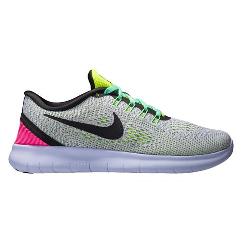 Womens Nike Free RN Running Shoe - White/Volt 9