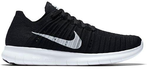 Womens Nike Free RN Flyknit Running Shoe - Black/White 10