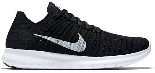 Womens Nike Free RN Flyknit Running Shoe - Black/White 11