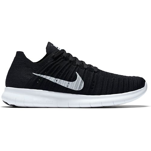 Womens Nike Free RN Flyknit Running Shoe - Black/White 9