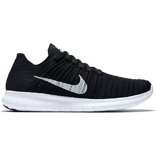 Womens Nike Free RN Flyknit Running Shoe - Black/White 9.5