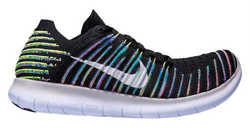 Womens Nike Free RN Flyknit Running Shoe - Black/Blue 10