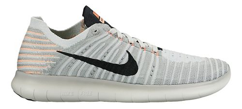 Womens Nike Free RN Flyknit Running Shoe - Grey/Mango 7.5