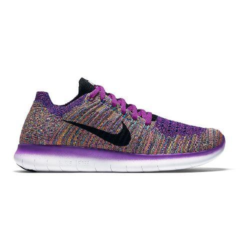 Womens Nike Free RN Flyknit Running Shoe - Violet/Multi 11
