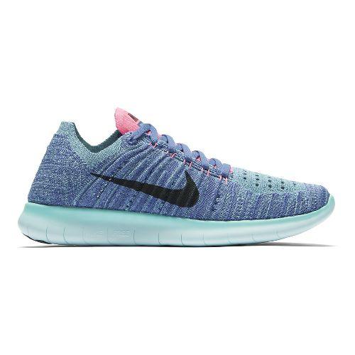Womens Nike Free RN Flyknit Running Shoe - Purple/Aqua 7