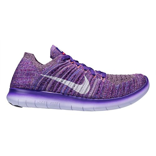 Womens Nike Free RN Flyknit Running Shoe - Purple/Mango 9