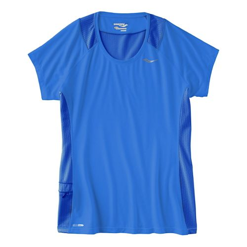 Womens Saucony Freedom Short Sleeve Technical Tops - Blueberry M