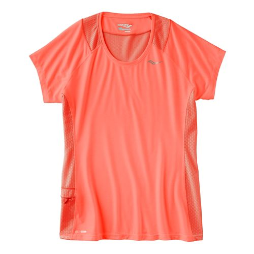 Womens Saucony Freedom Short Sleeve Technical Tops - Peach Sorbet XS