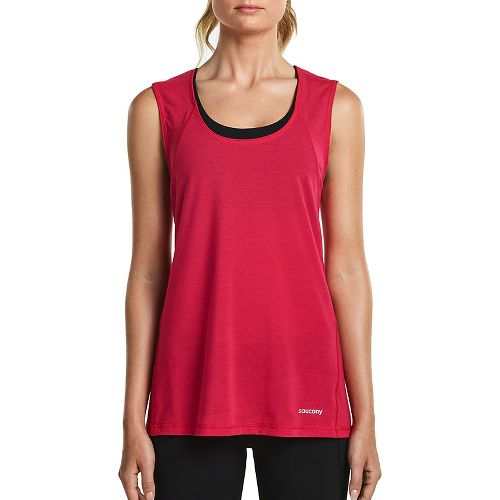 Womens Saucony Freedom Sleeveless & Tank Tops Technical Tops - Raspberry M