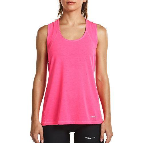 Womens Saucony Freedom Sleeveless & Tank Tops Technical Tops - VIZiPRO Pink XL