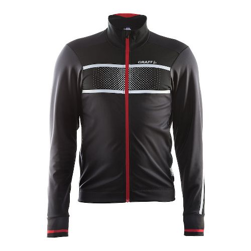 Mens Craft Glow Running Jackets - Black/Bright Red L