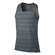 Mens Nike Dri-Fit Cool Tailwind Stripe Sleeveless & Tank Technical Tops - Cool Grey XL