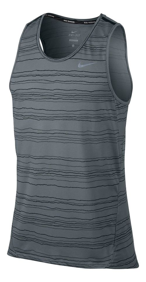 Mens Nike Dri-Fit Cool Tailwind Stripe Sleeveless & Tank Technical Tops - Cool Grey L
