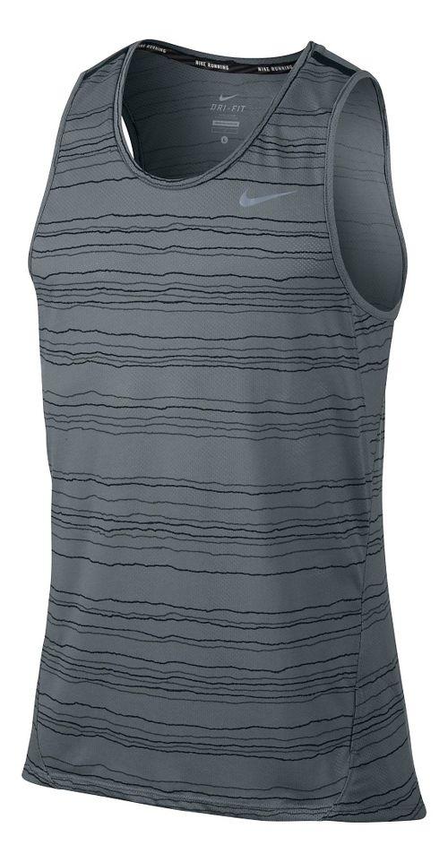 Mens Nike Dri-Fit Cool Tailwind Stripe Sleeveless & Tank Technical Tops - Cool Grey XL ...