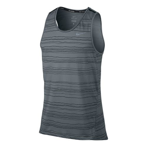 Mens Nike Dri-Fit Cool Tailwind Stripe Sleeveless & Tank Technical Tops - Cool Grey L ...