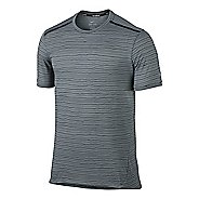 Mens Nike Dri-FIT Cool Tailwind Stripe Short Sleeve Technical Tops - Cool Grey S
